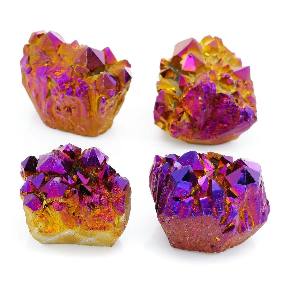 Amazon com: QGEM Natural Rock Quartz Titanium Coated Rainbow