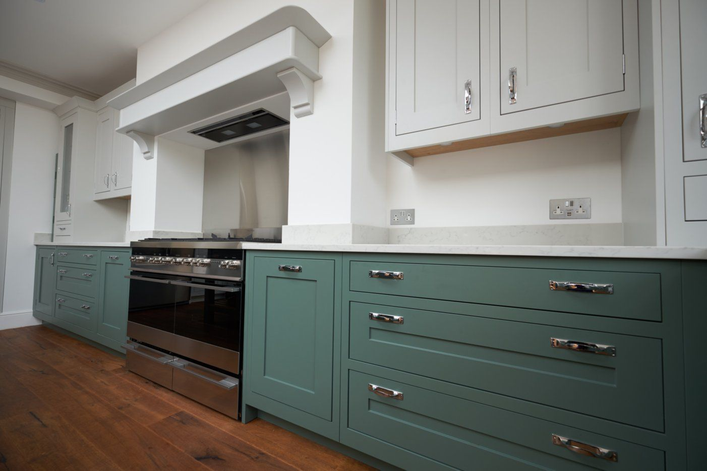 Traditional In Frame Kitchen Painted In Farrow And Ball Ammonite And Green Smoke Diy Kitchen Cabinets Painting Cost Of Kitchen Cabinets Cheap Kitchen Cabinets