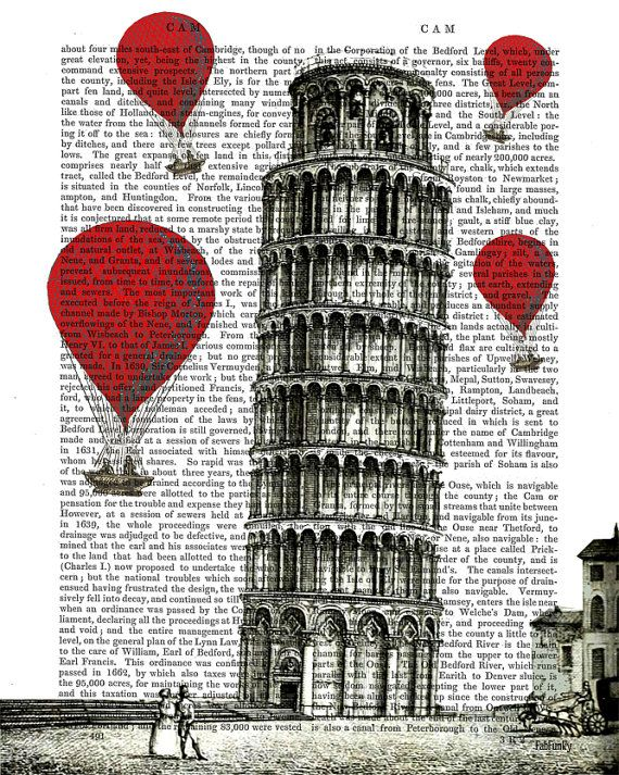 Tower of Pisa and Red Hot Air Balloons Art Print by FabFunky, $15.00