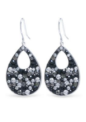Belk Silverworks Silver Silver Plated Crystal Teardrop with Cutout Earrings
