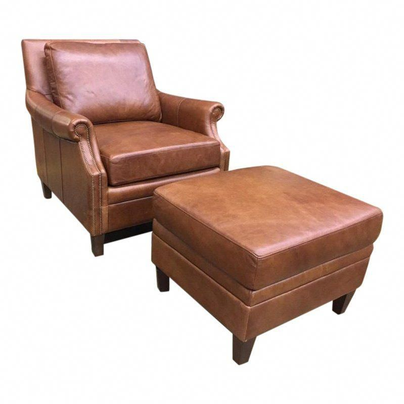 Pleasing Transitional Brown Leather Chair Ottoman Set 2 Pieces Gmtry Best Dining Table And Chair Ideas Images Gmtryco