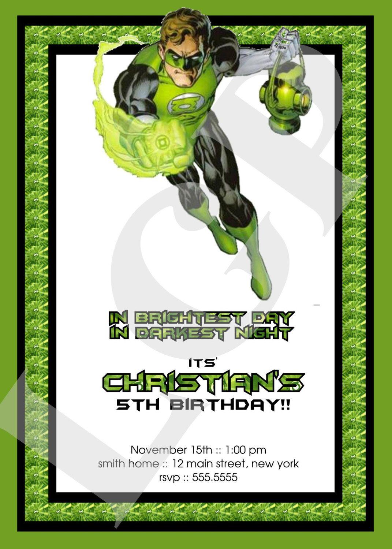 Birthday Party Green Lantern Invitations Print Your Own | Birthdays