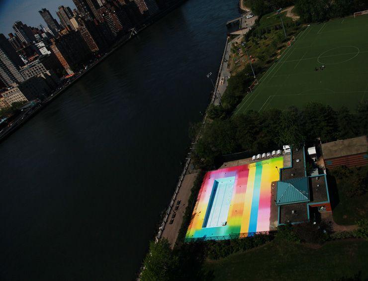 "Street Artist and installation artist Hot Tea's  ""Asylum""  in plain view of Manhattan and Queens."