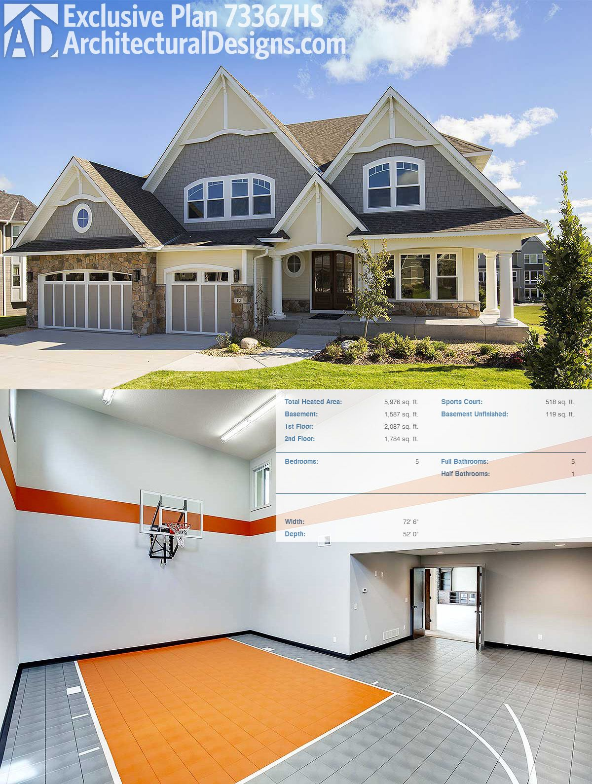 Architectural Designs Exclusive Sports Court House Plan 73367HS Is JUST The  Thing You Need To Perfect