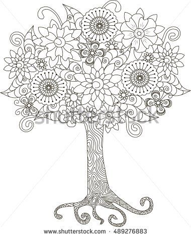 Blooming Tree For Coloring Book Anti Stress Vector Illustration