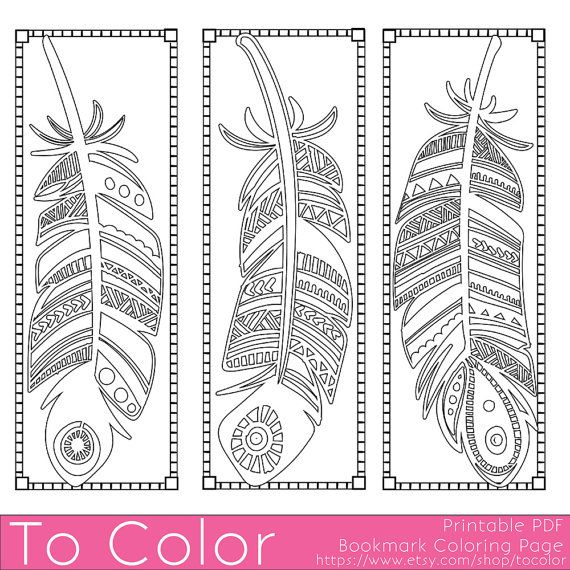 Printable Feathers Coloring Page Bookmarks For Adults Pdf Jpg