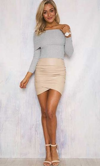Free To Love Light Grey Long Sleeve Fold Over Off The Shoulder ...
