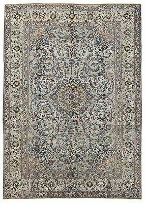 9 X 12 Persian Kashan Hand Knotted Wool Celadon Green Blues Floral