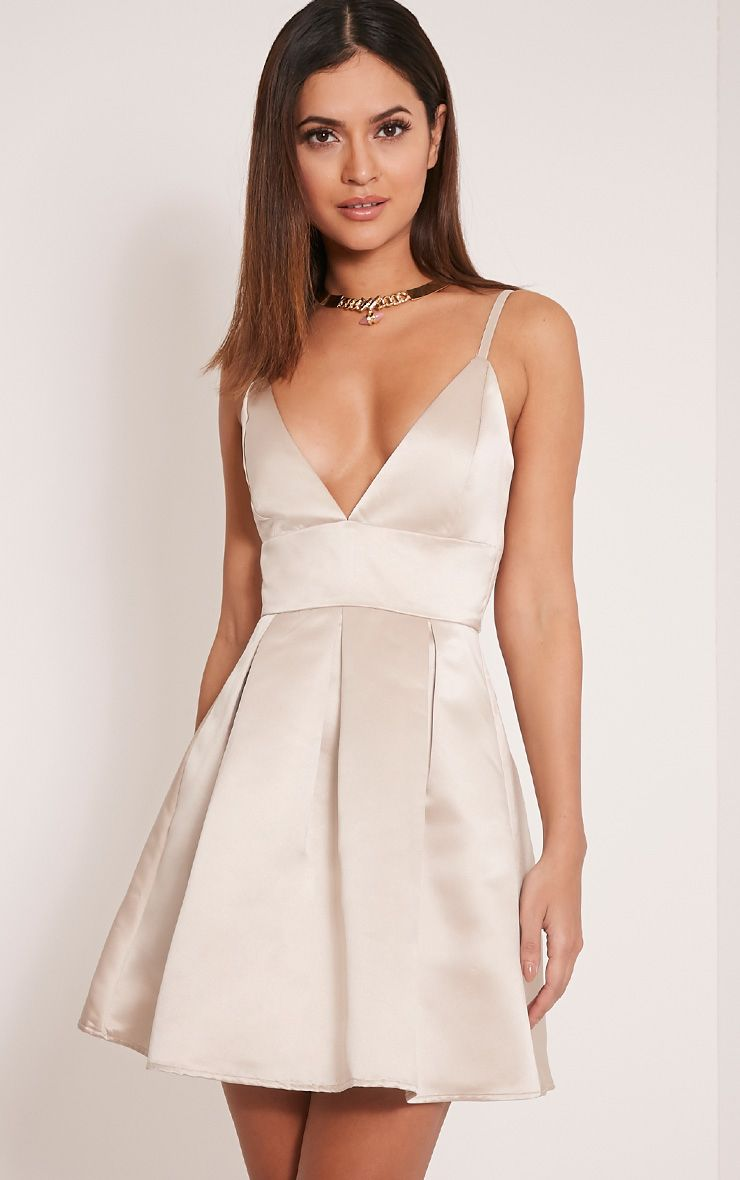 Annora Champagne Satin Strappy Skater Dress Fashion Beauty And