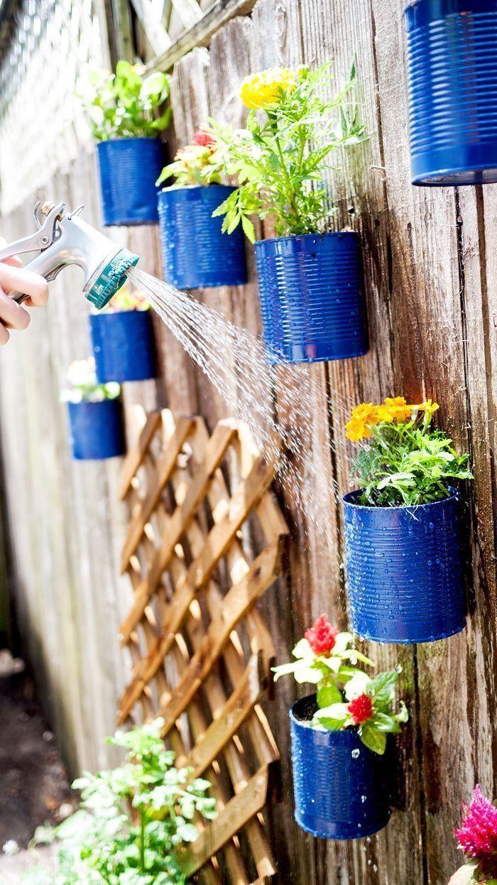 Garden decor projects - Cool Tin Can Garden Garden Gardening Garden Decor Small Garden Ideas Diy