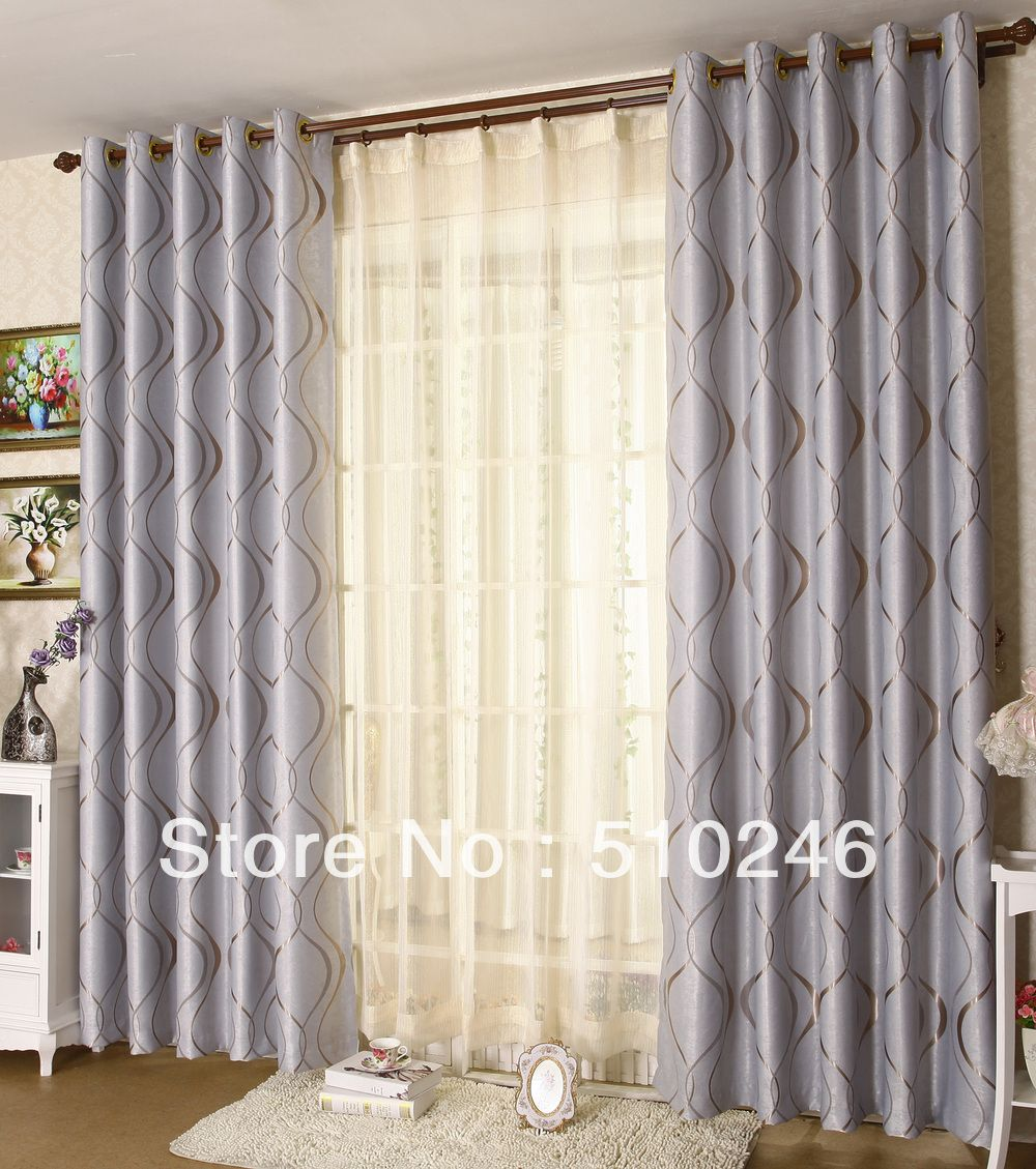 Grey Grommet Curtains Double Rod
