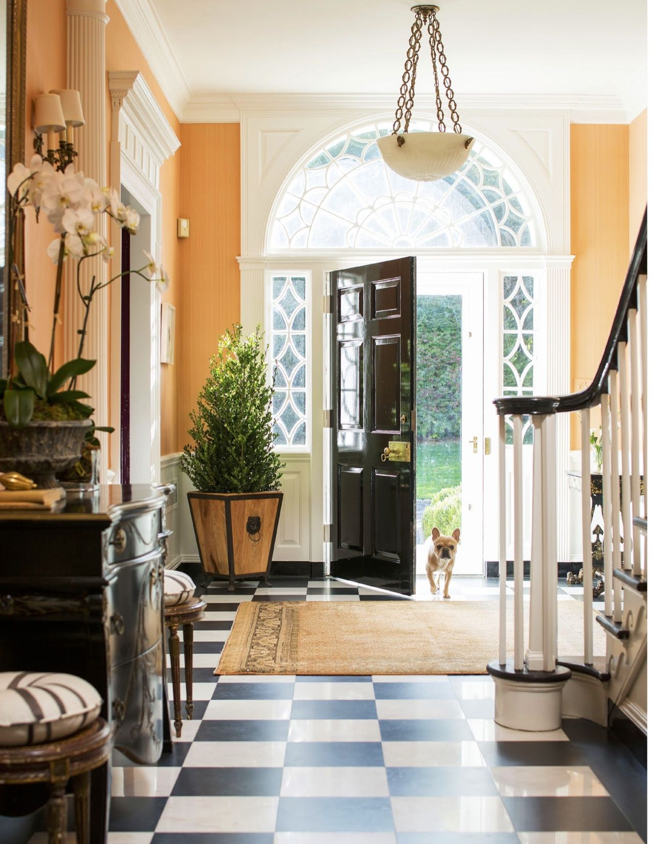 Home interior front christina murphy via trad home black lacquer front door