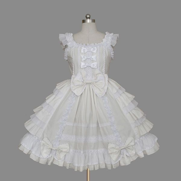 Cheap Lolita White Cotton Square Neck Cap Sleeve knee-length Ruffles Bow Sweet  Dress Sale At Lolita Dresses Online Shop. We provide Lolita products with  ...