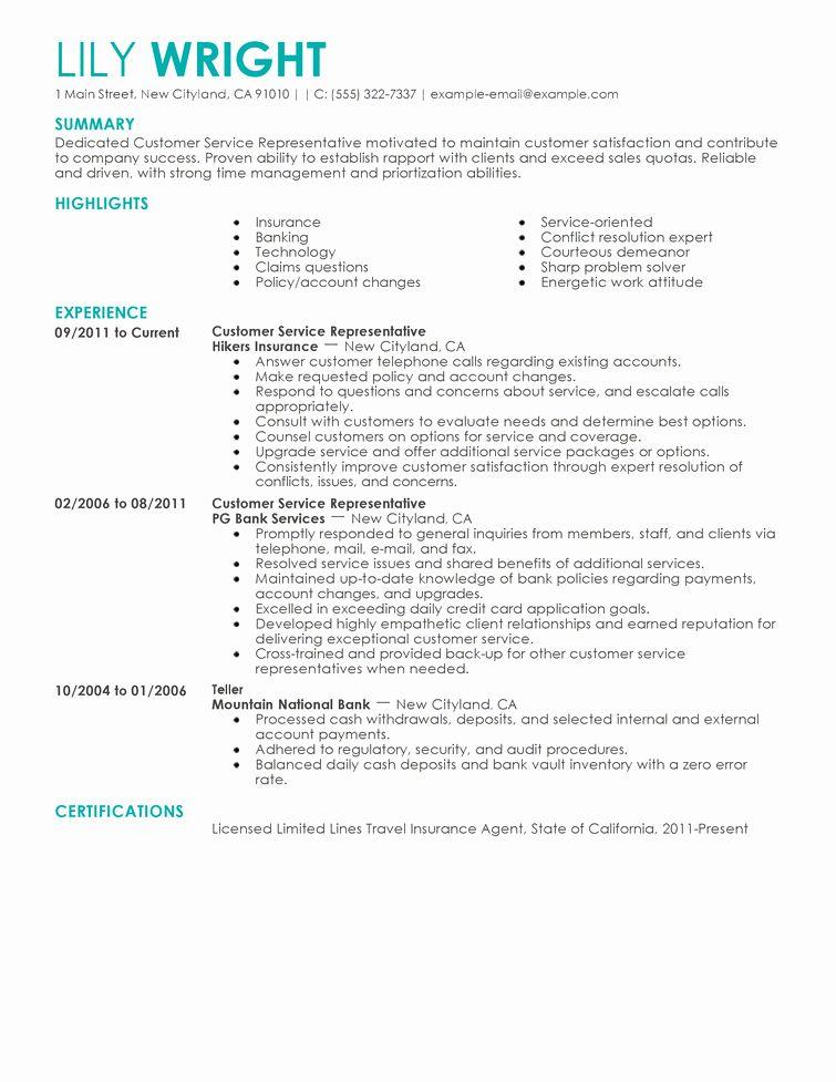 25 Customer Service Resume Template in 2020 Job resume