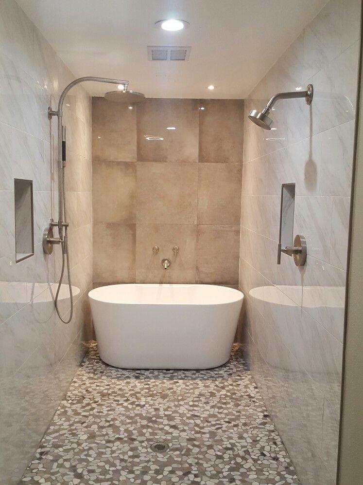 Narrow Bathroom 6ft Wide Freestanding Bathtub In Shower With