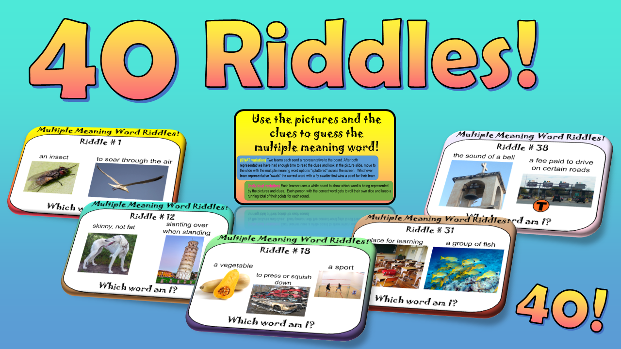 Riddles Make Learning FUN! Multiple meaning words, Word