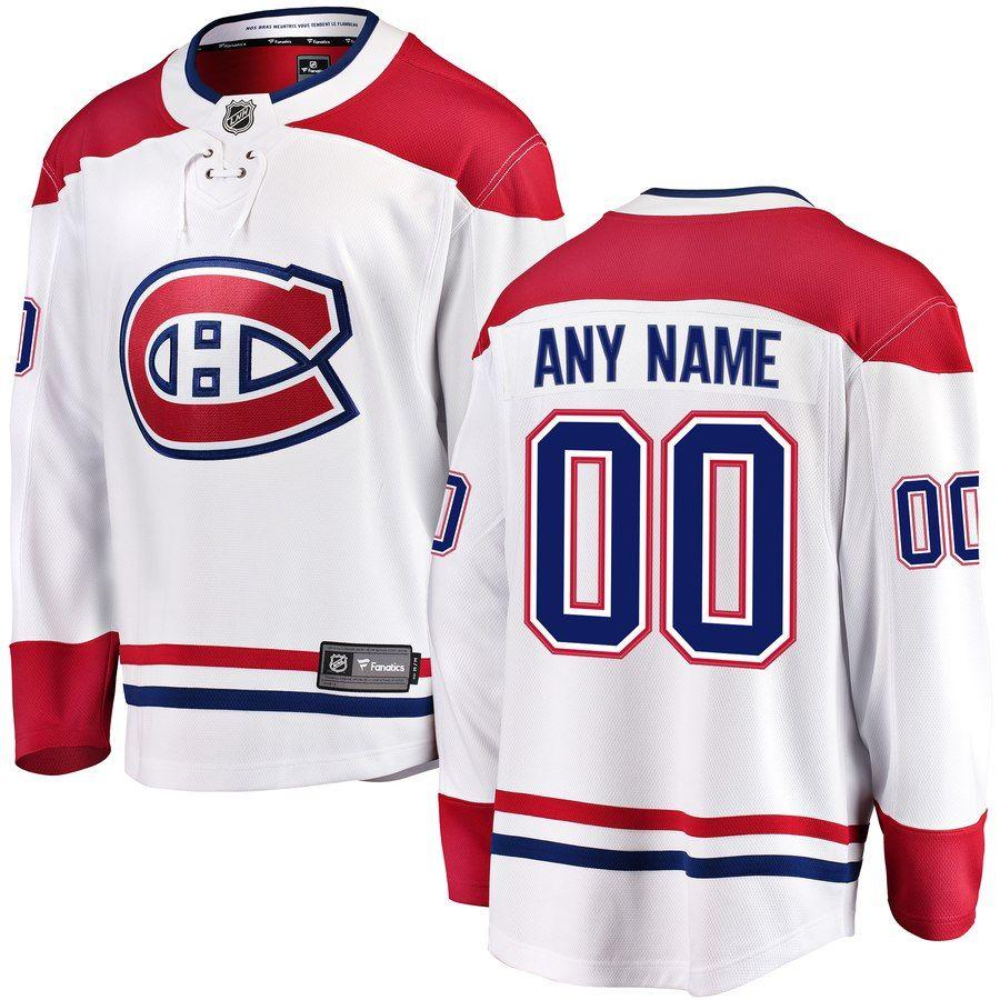a458027669a Men's Montreal Canadiens Fanatics Branded White Away Breakaway Custom Jersey