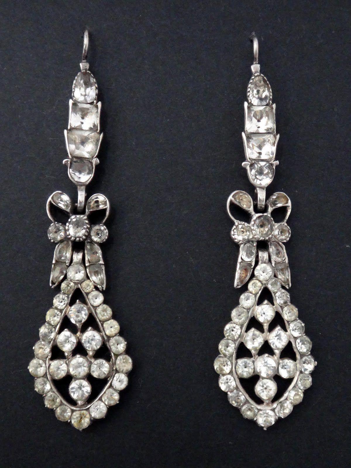 Argent Diamants Superbe D'oreilles Boucles Anciennes D Pendants rdxBeoC