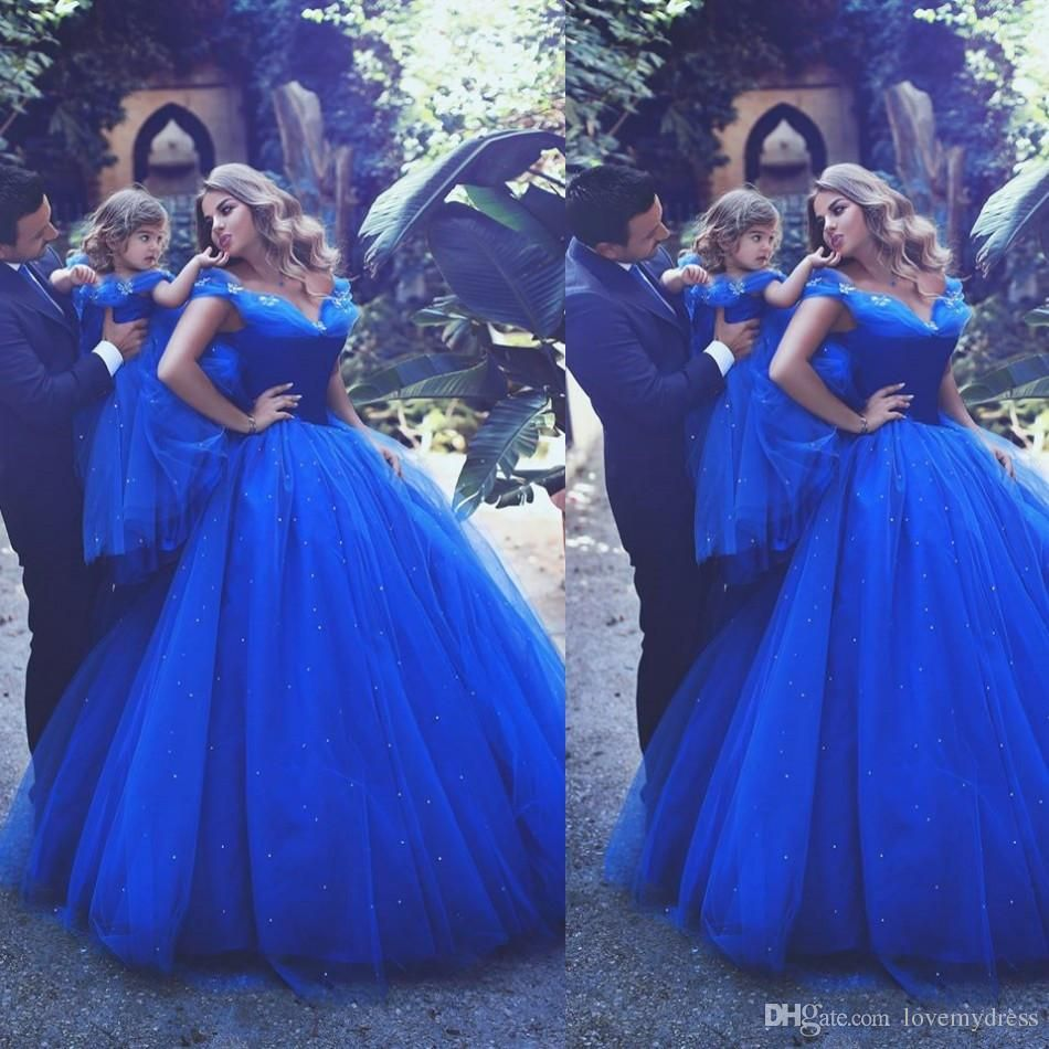 Cinderella Formal Party Gown Off Shoulder Floor Length Sequin Blue