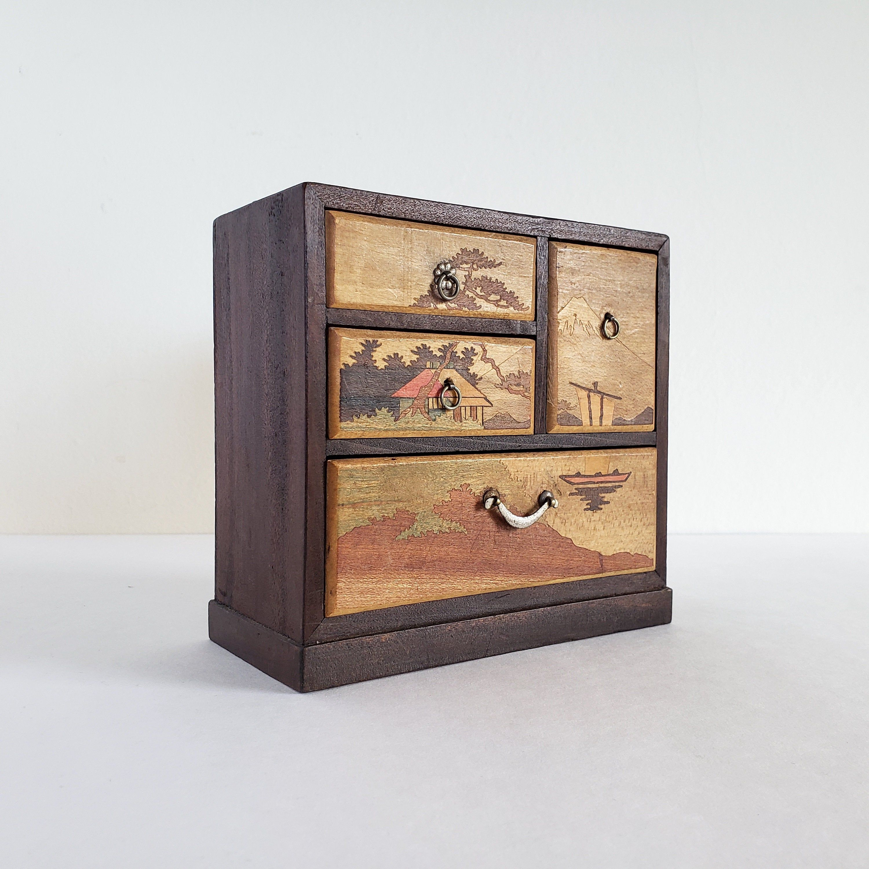 Vintage Japanese Wood Jewelry Box Miniature Tansu Chest Of
