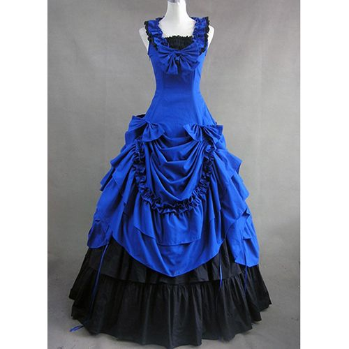 Cheap Blue and Black Classic Gothic Victorian Sleeveless Bowknot ...