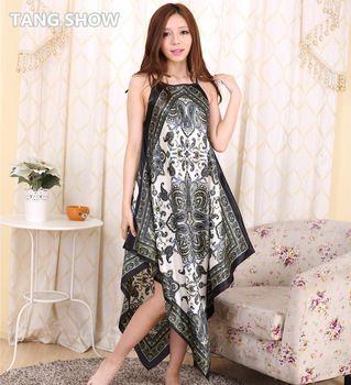 4220ef286 Flor elegante Plus Size Mulheres Camisola Rayon Verão Casual Spaghetti  Strap Vestido Casa Camisola Senhora Sexy Sleepwear Robe NG015