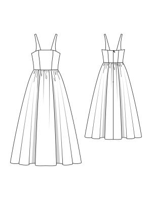 Flower Gown pattern flat line drawing www.sewingavenue.com