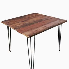 Breakfast Table With Reclaimed Wood Plank Top And Industrial Style Mid  Century Modern Hairpin Legs By