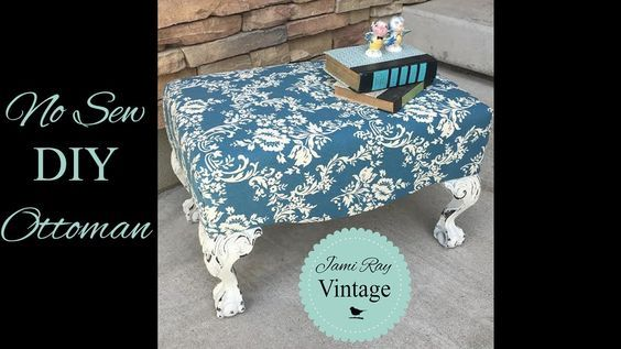How To Upholster an Ottoman WITHOUT Sewing - featuring Riley Blake Home Dec fabric #iloverileyblake #fabricismyfun