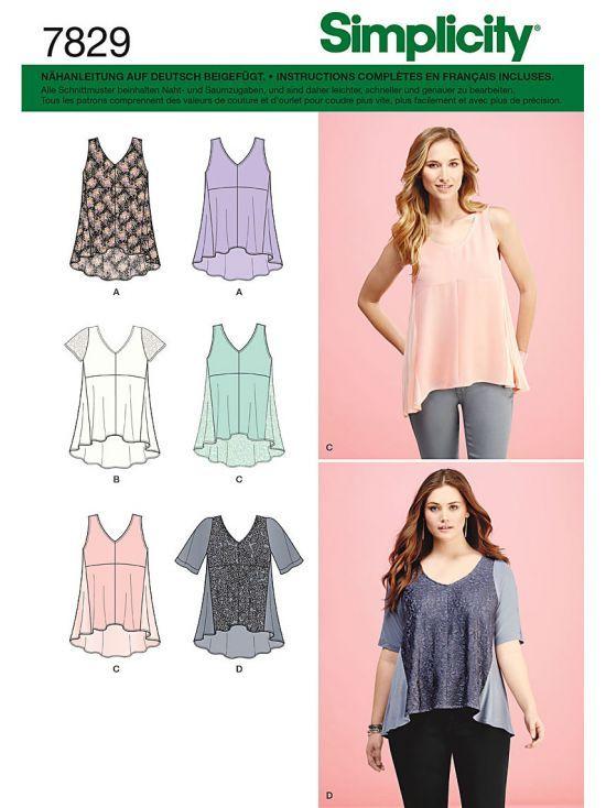 7829 Simplicity Schnittmuster Shirts Tops | Damen, Nähen und ...
