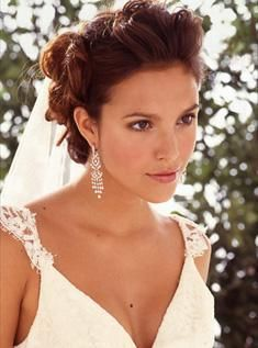Bride Updo Hairstyle Big Soft Curls With Veil Brunette
