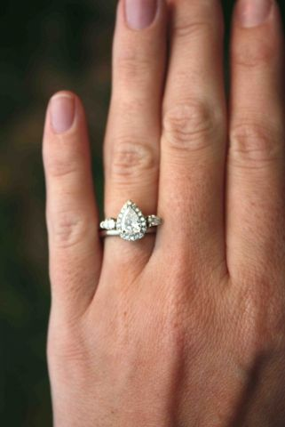 Under 1ct Diamonds By Sweetpink Pear Engagement Ring Halo Pear Shaped Diamond Ring Pear Engagement Ring
