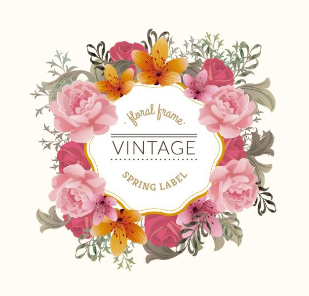 Vintage floral frame. #klepsoo #think #pink | Vectores