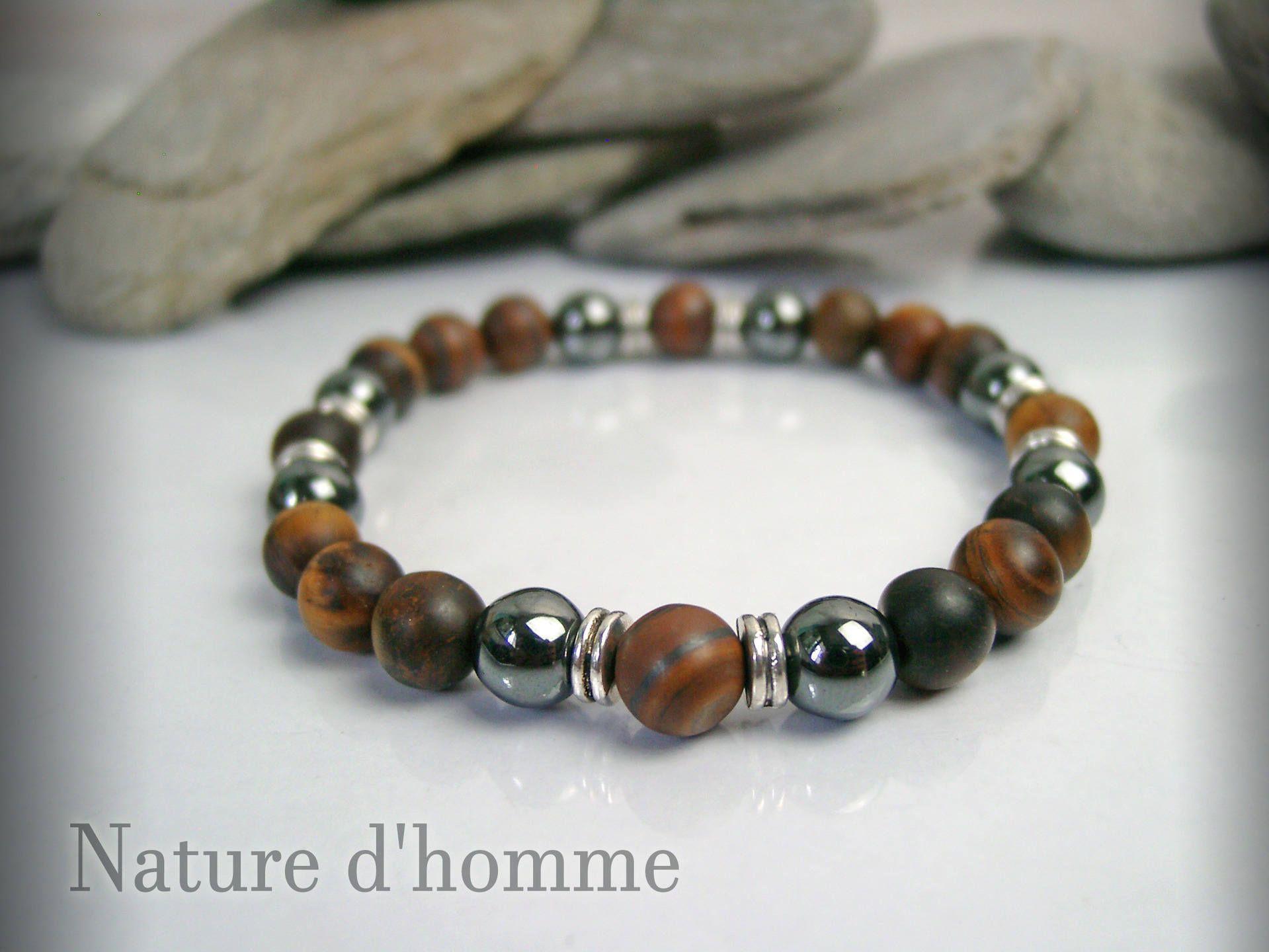 Bracelet made of natural hematite stones and matte Tiger eye Ref  BN ... 20ef41fed46d
