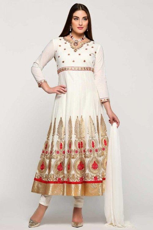 Online sale, Anarkali churidar cotton indian prom suits, White ...
