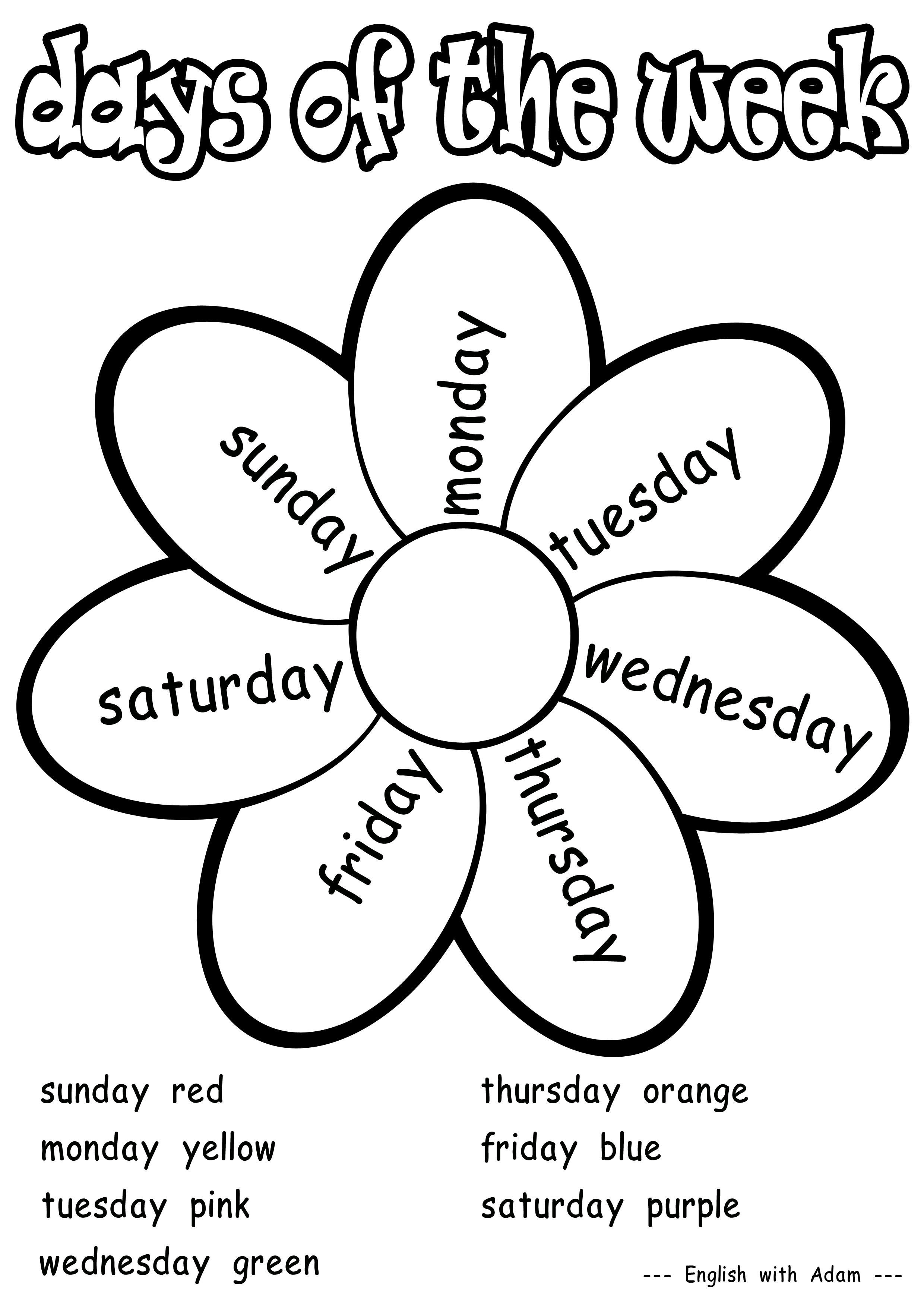 Days of the week coloring activity grade also worksheets pinterest rh