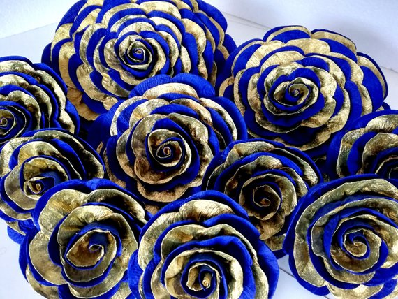 10 Large Paper Flowers Royal Gold Blue Navy Cobalt Prince Wall