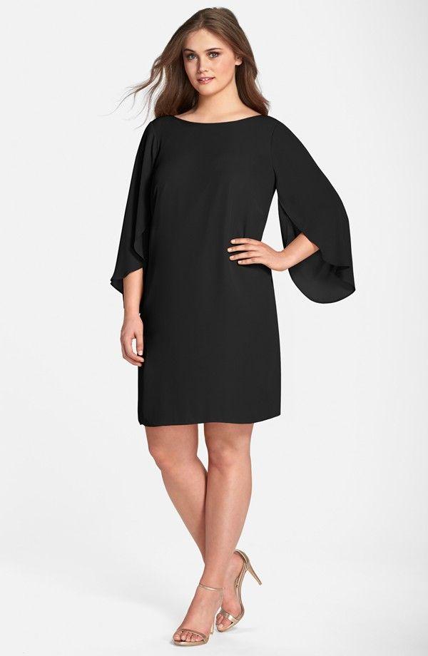 tulip sleeve georgette shift dress (plus size) | plus size