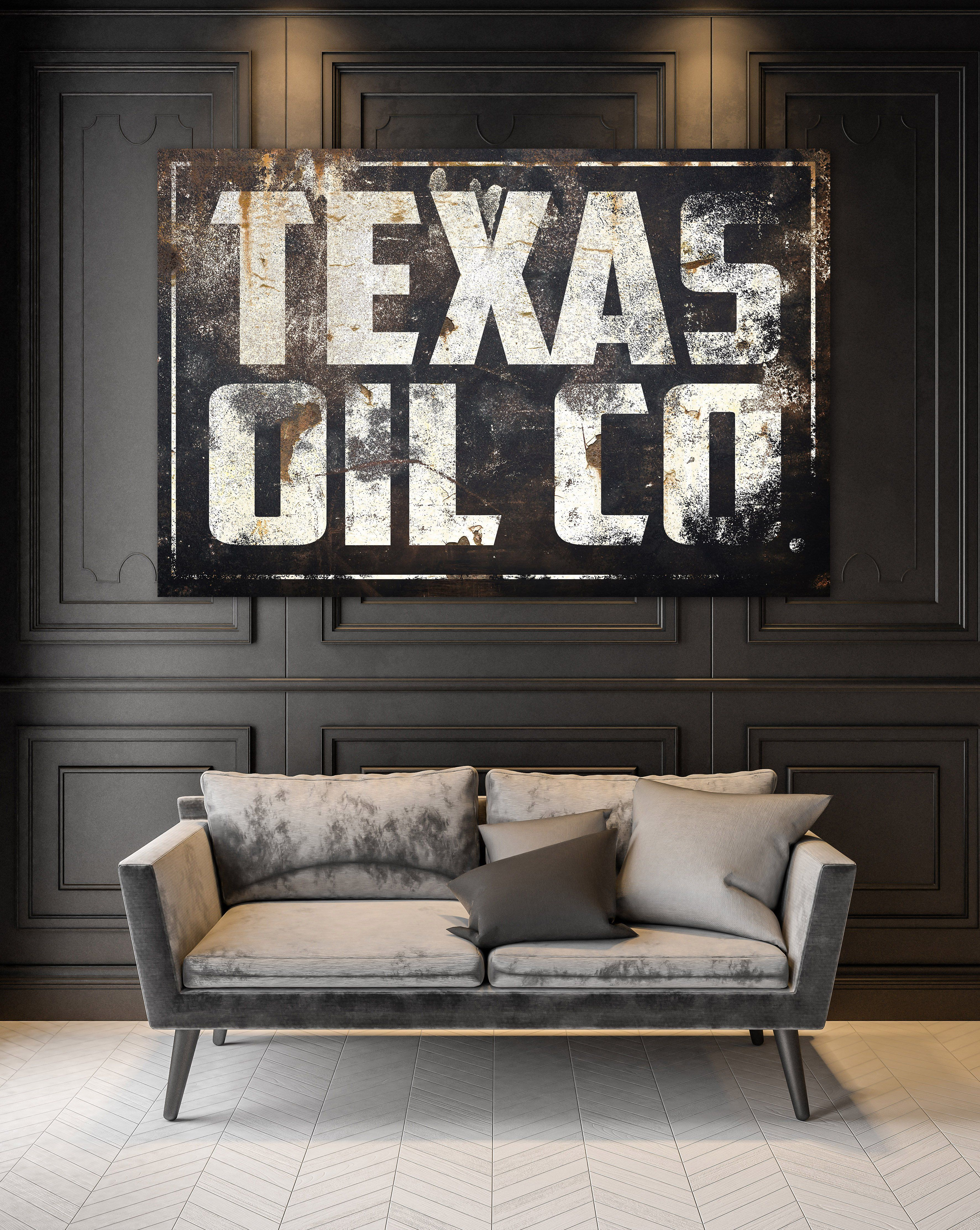 Texas Wall Art Vintage Signs Canvas Prints Texas Oil Co In 2020