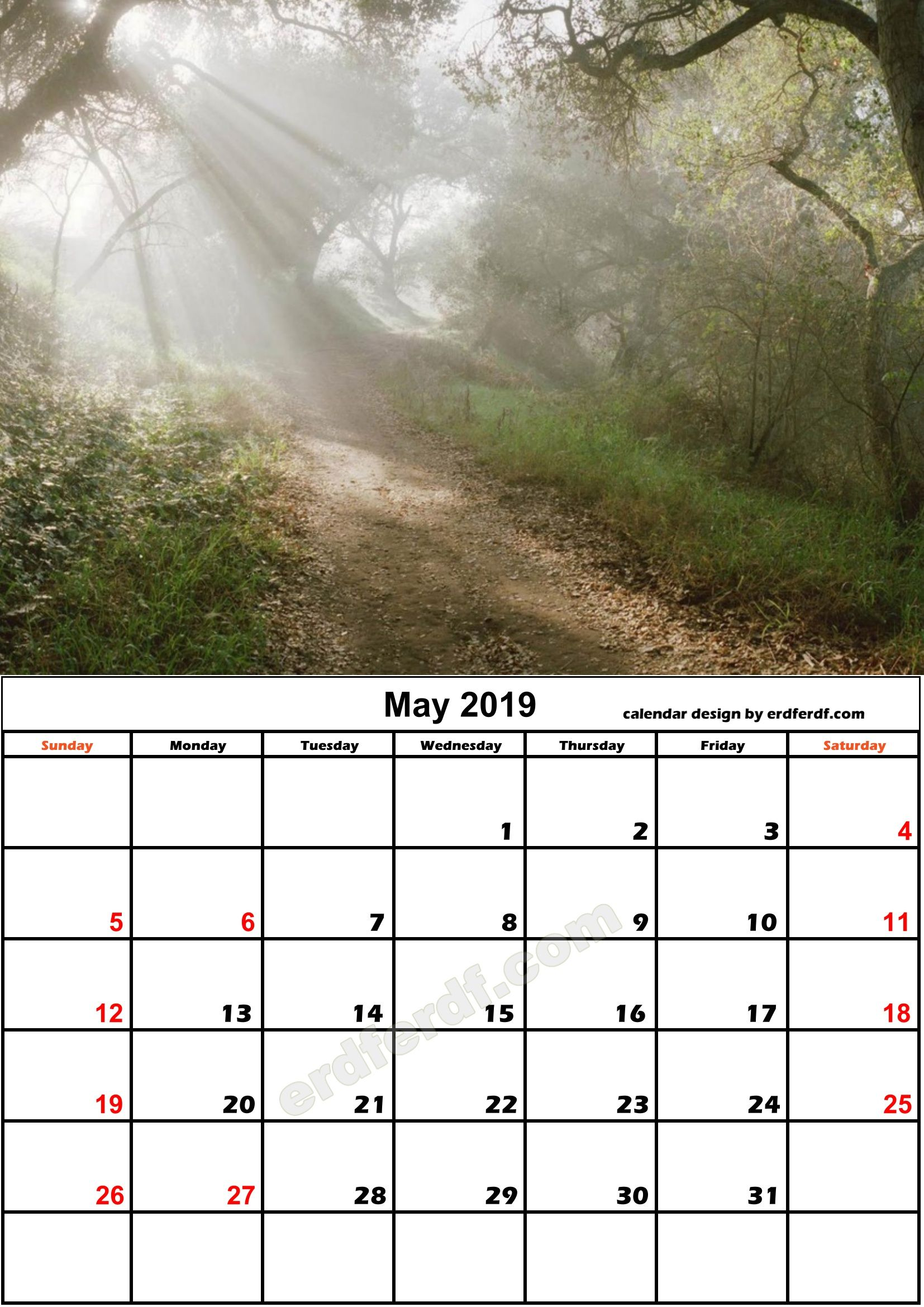 5 May Nature Calendar Monthly 2019 Free Download Monthly Calendar
