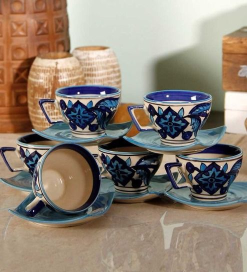 a10c2eaa7d8 Unravel India Moroccan Handpainted Stoneware Cups & Saucers - Set of 6 by  Unravel India Online - Cups & Saucers - Kitchen & Dining - Pepperfry Product