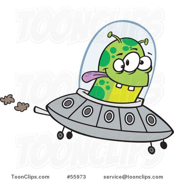 Cartoon Green Alien Flying a UFO