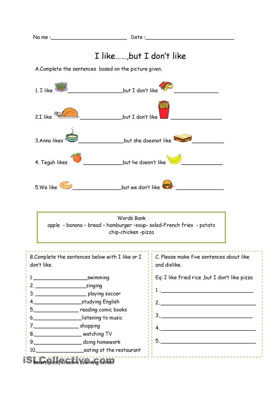 I like but.... Grammar worksheets, Worksheets, 1st grade
