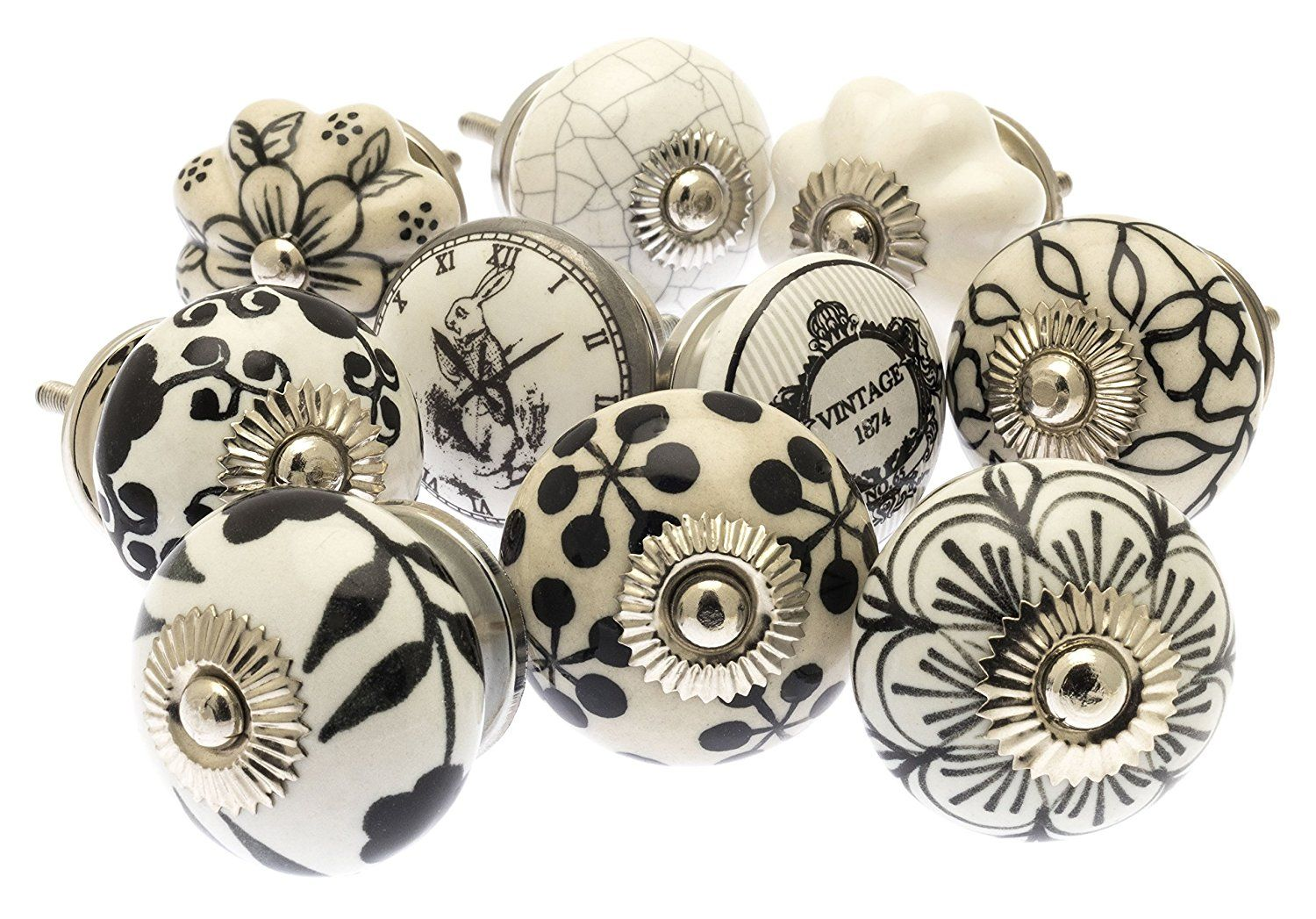 Nicola Spring Ceramic Cupboard Drawer Knobs - Vintage Flower ...