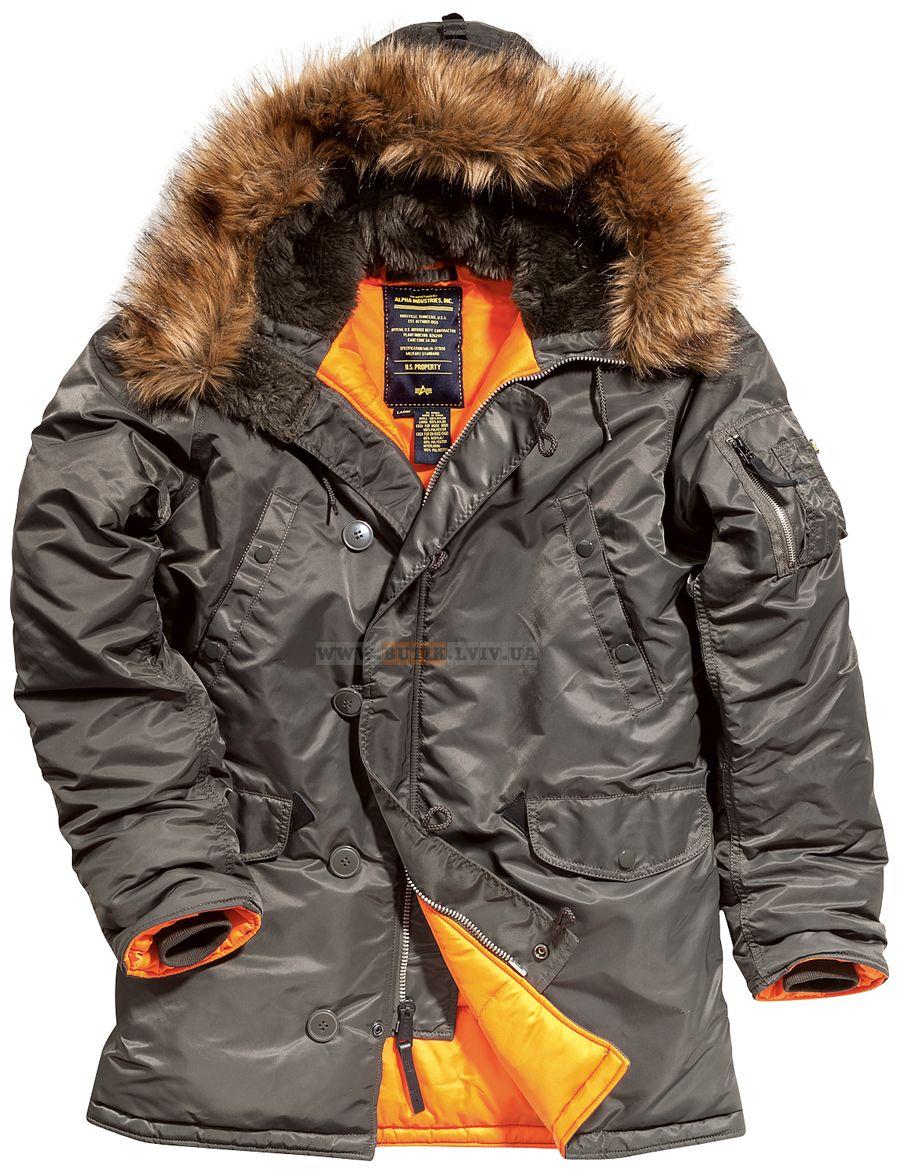 6aa1ba9474f Куртка аляска Slim Fit N-3B Parka Alpha Industries (темно-сіра) Розміри   XS