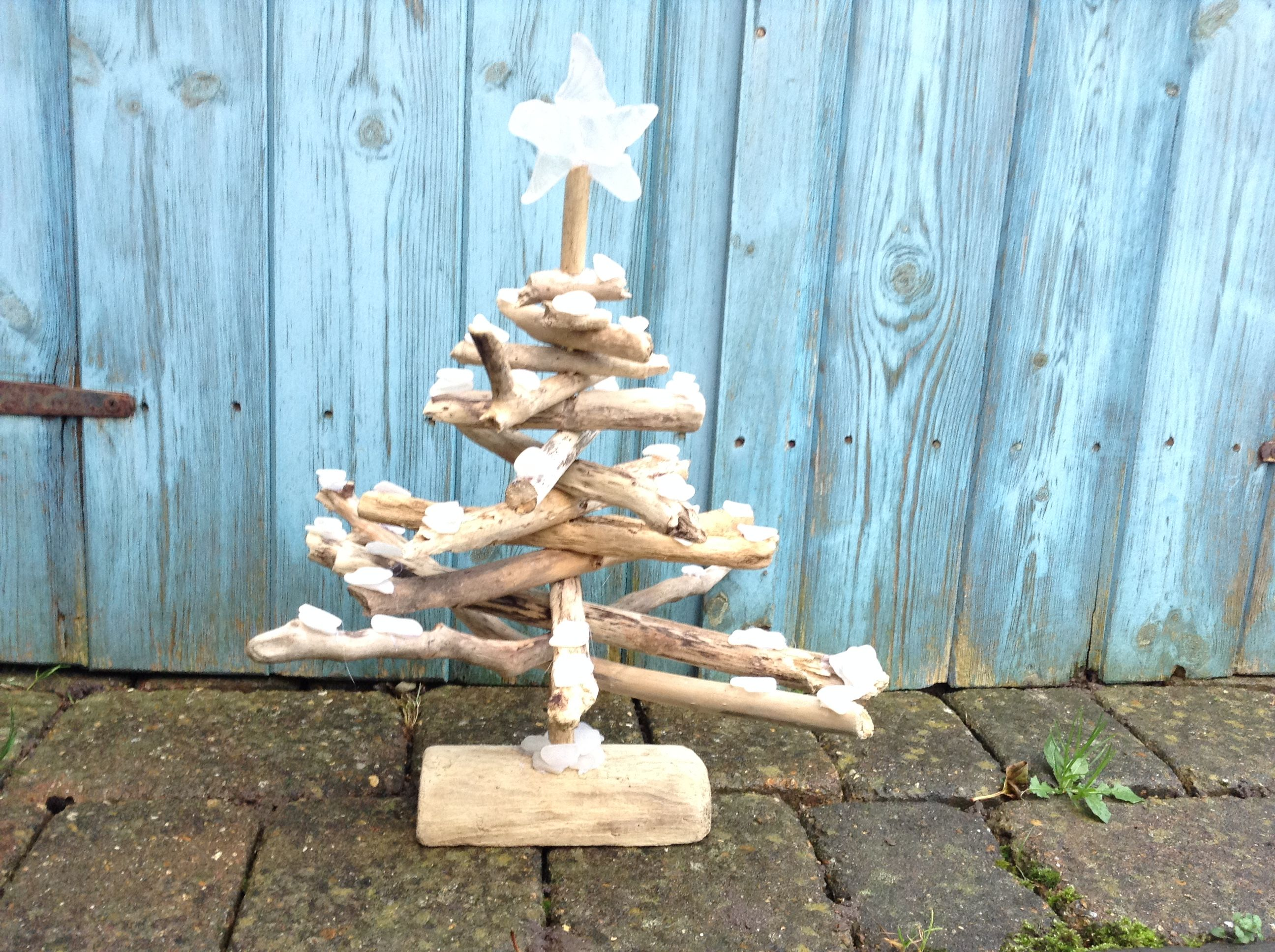 Nautical Driftwood Christmas Tree With Sea Glass Star & Shell