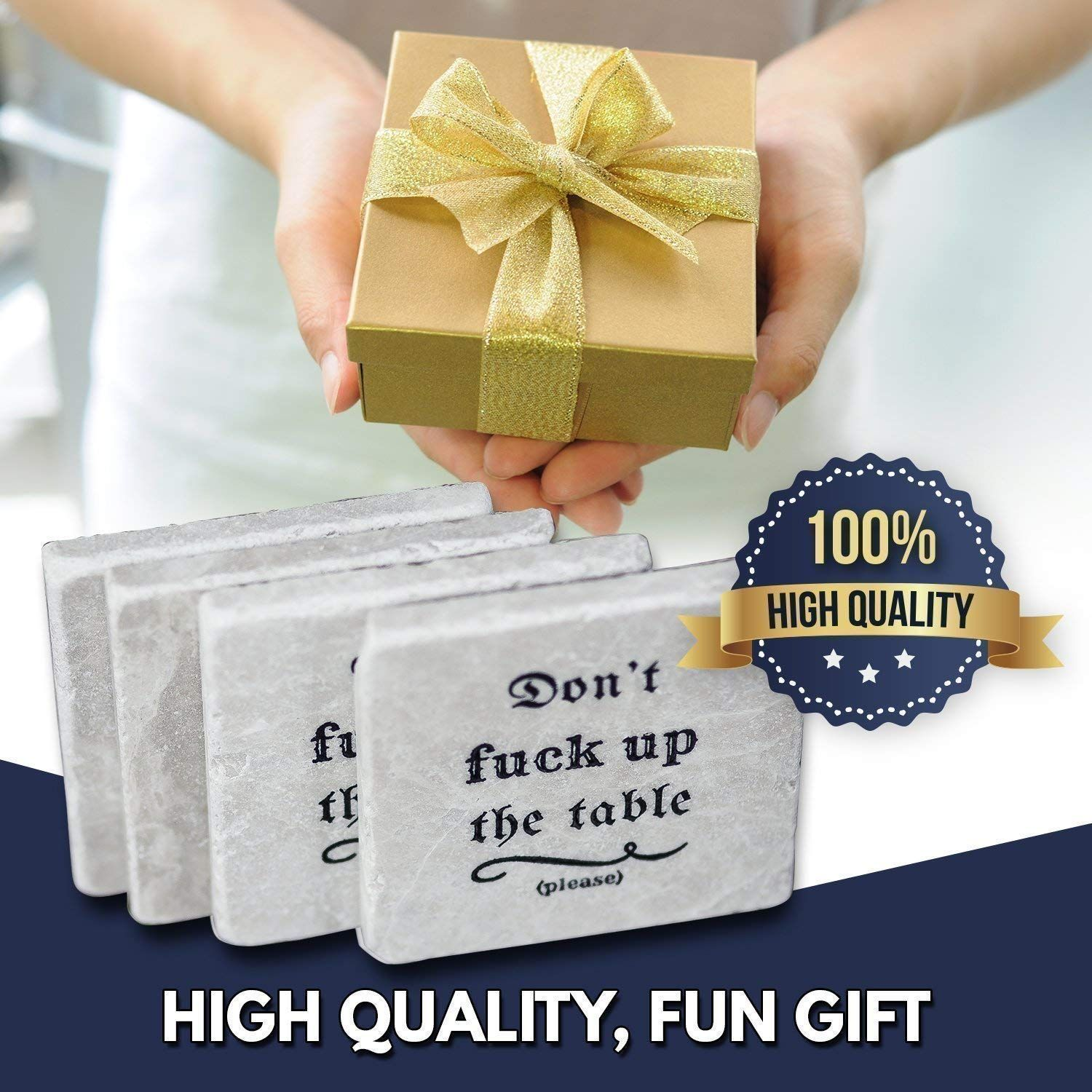 Marble coasters for drinks housewarming gift funny home