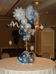 Snowflake balloon topiary
