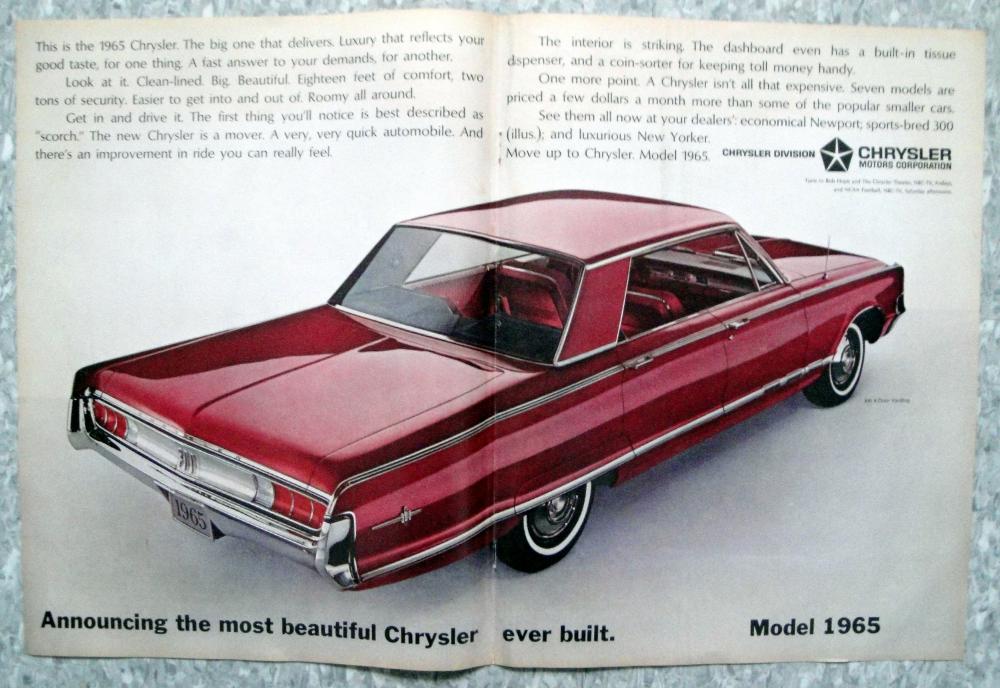 1965 Chrysler 300-2 Door Hardtop-Original 2 Page Centerfold | Etsy