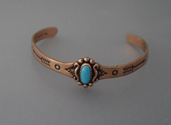 Vintage Child S Copper Turquoise Bracelet By Lisawitmercollection 16 00